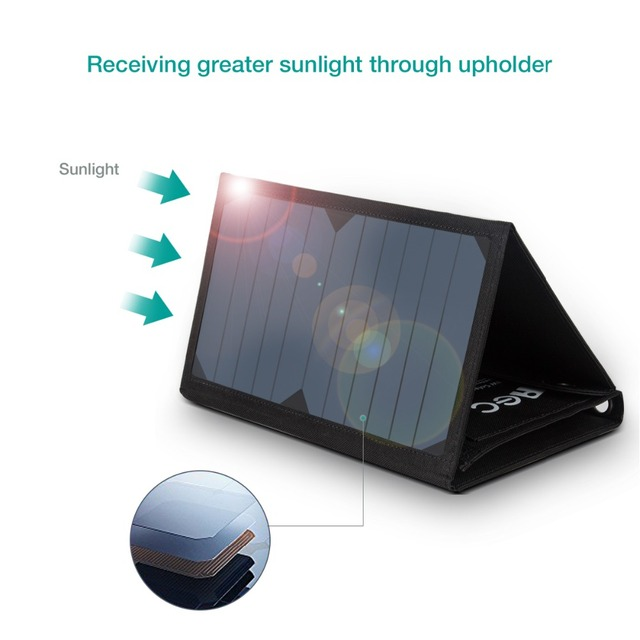 Foldable Solar Charger with Sun power Panel Outdoor Solar Power Bank Battery Charger External Panel Battery Charger pack