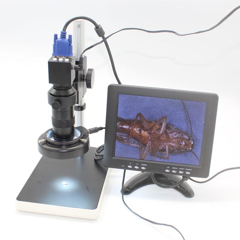 2.0MP 30fps Industrial Digital Electron Microscope Camera VGA Output+8X-130X Optical C-Mount Lens+LED Lights+Adjustment Holder 2 0mp hd industrial digital microscope camera vga cvbs usb av tv outputs 8x 130x optical c mount lens led lights holder