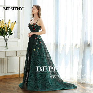 Image 3 - BEPEITHY Green Lace Long Prom Dresses Spaghetti Straps With Flowers 2020 Vestido De Festa Evening Dress Party Gown Hot Sale