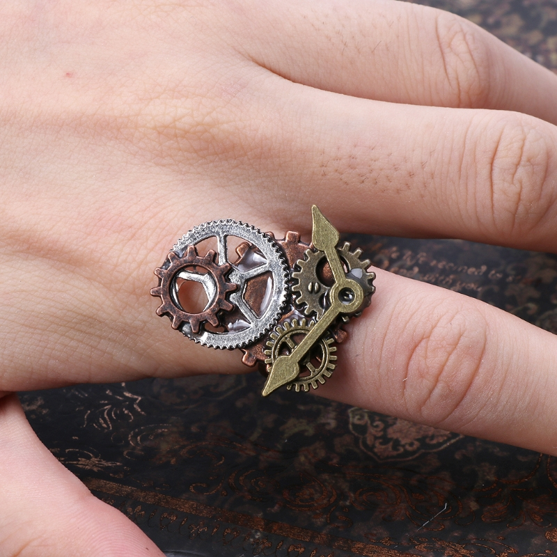 Wonderful Design 30 * 25mm Surface Of Different Gear Components And Clock Hand Steampunk Ring Accessory