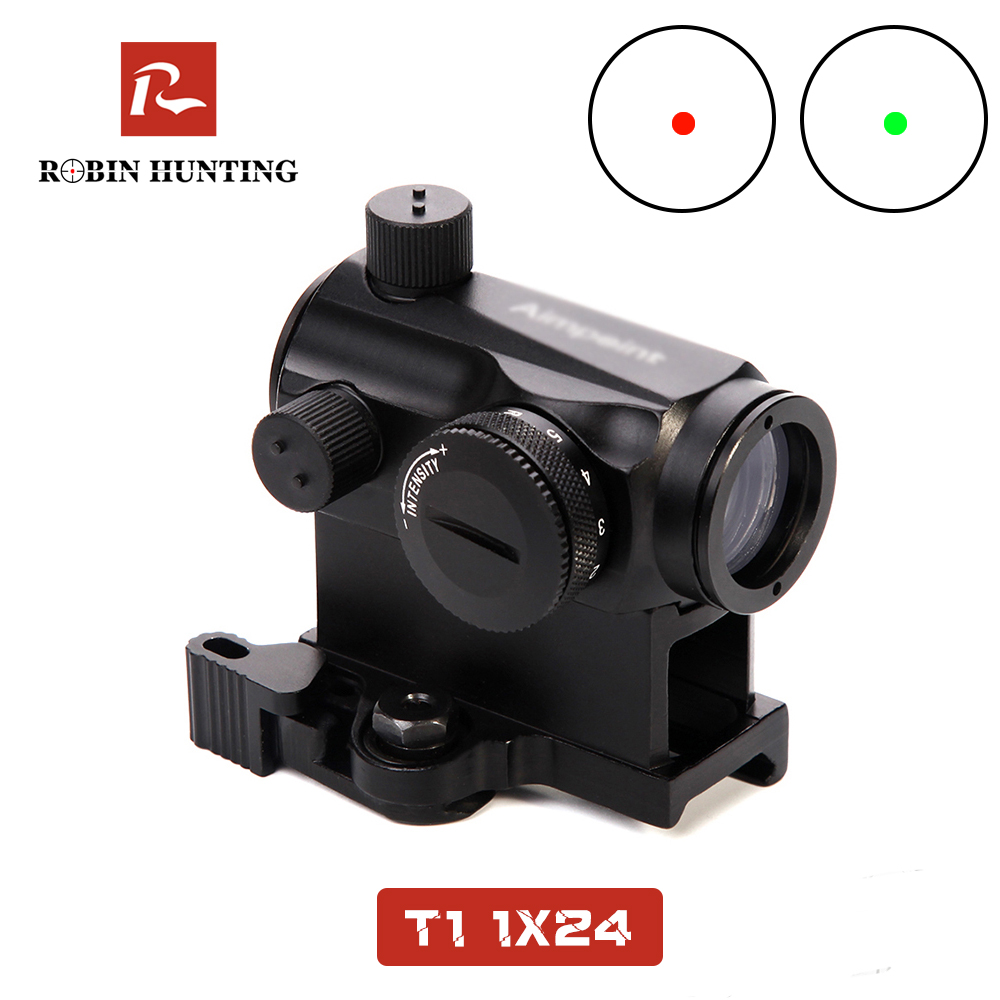 Tactical 1X24 Rifescope Sight Illuminated Sniper Red Green Dot Sight With Quick Release Hunting Air Gun Red Dot Sight