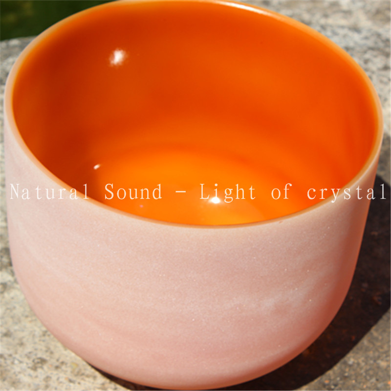 "14"" Note D or C,F,G Color Orange Crystal healing Chakra Quartz Crystal Singing Bowl Chakra Sacral"