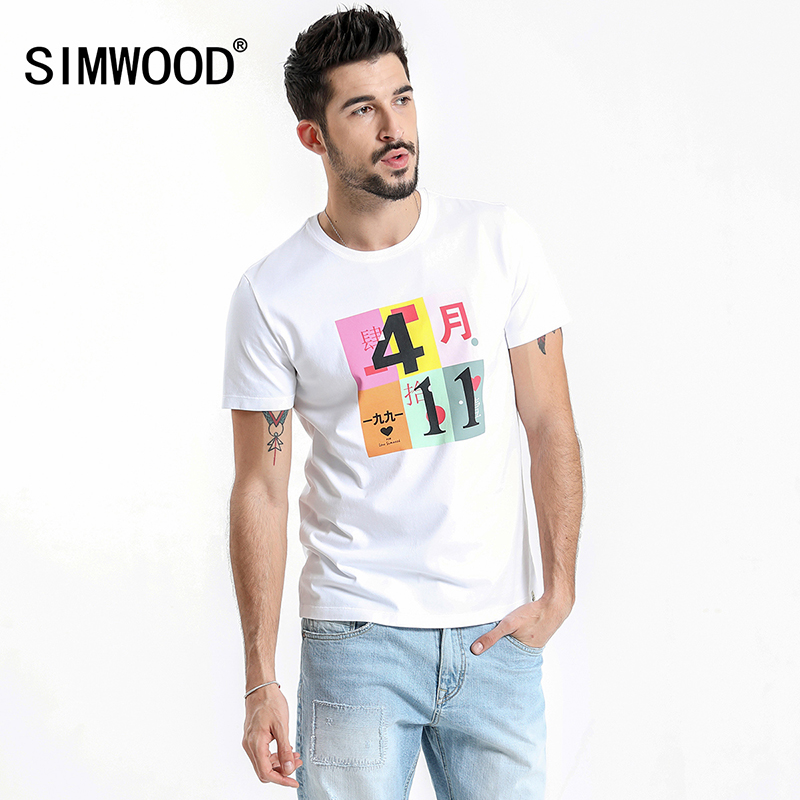 b3b5629765be0 SIMWOOD 2019 Summer New T Shirt Men Print 7 Anniversary Tops Fashion Casual  100% Cotton O-Neck Plus Size Brand Clothing 180272
