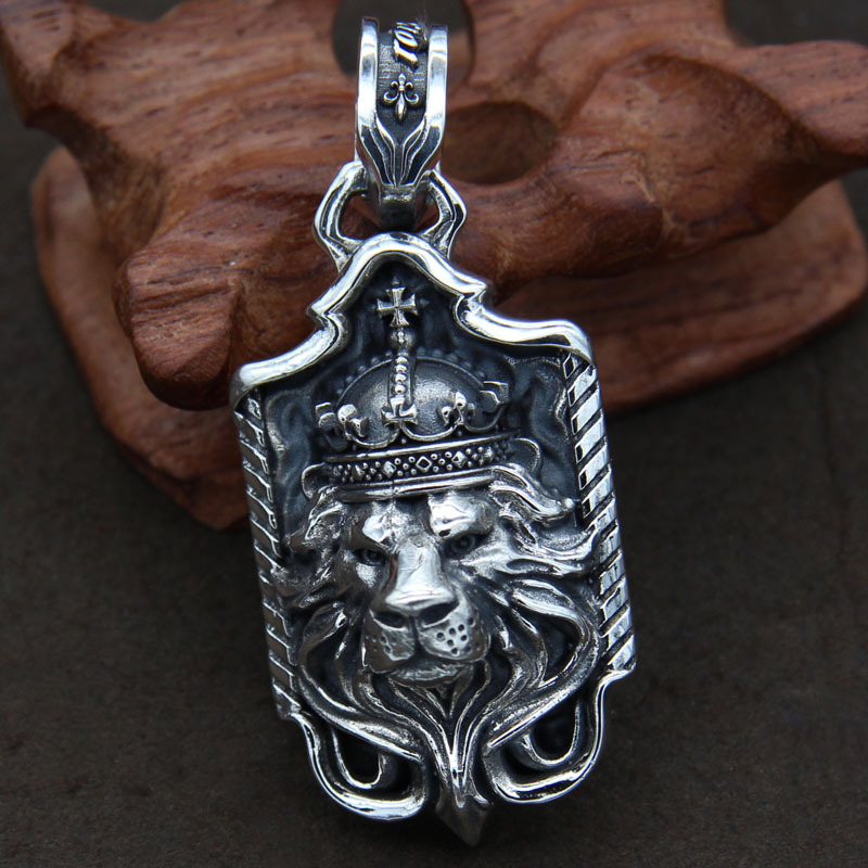 925 Sterling Silver Pendant dimensional lion head male and female Wenwan flamboyant type pendant rasta vibrations thailand golden lion lion imported genuine sterling silver pendant pendant retro male