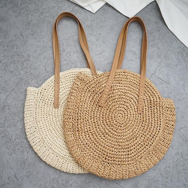 עגול קש חוף תיק בציר בעבודת יד ארוג כתף תיק רפיה מעגל קש שקיות בוהמי חופשת הקיץ מזדמן שקיות