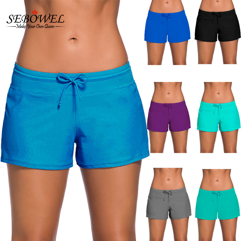 SEBOWEL 2019 Womens Bikini Swimwear Lace Up Beach Swim Shorts Black Wide Waistband Swimsuit Bottom Shorts Female Swim Boardshort