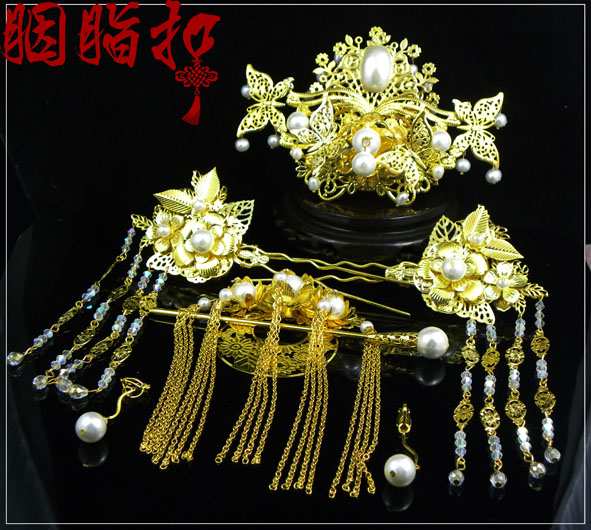 Pearl bride hair accessory set Feng Qiu Huang chinese style classical hanfu costume hair accessory handmade hair tiaras 03 red gold bride wedding hair tiaras ancient chinese empress hat bride hair piece