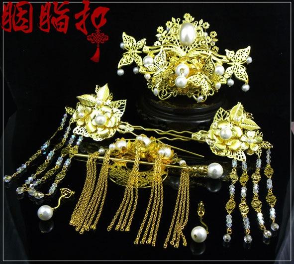 Pearl bride hair accessory set Feng Qiu Huang chinese style classical hanfu costume hair accessory handmade hair tiaras qun ti xiang chaozhou feng huang dan cong oolong 100g 3 5 oz