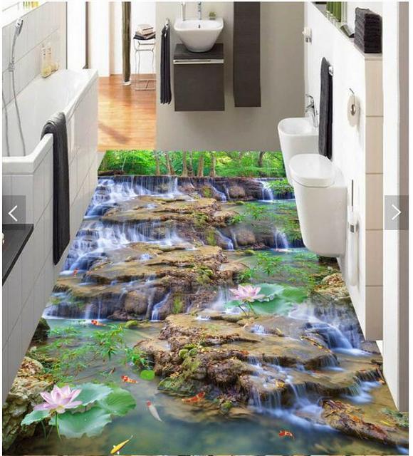 3d Pvc Bodenbelag Schlafzimmer Benutzerdefinierte Foto Wasserdichte Boden Aufkleber Wasserfall Lotus Karpfen Dekoration Malerei Wallpaper Für Wände