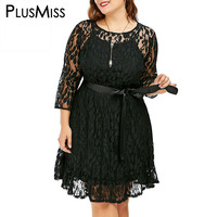 GIYI Plus Size 9XL 8XL 7XL 6XL 5XL Sexy Black Lace Dress With Belt Women Vintage