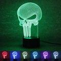 3D LED Цвет Изменение Лампа Каратель Череп разноцветные Bulbing Свет Акриловые 3D Голограммы Иллюзия Настольная Лампа Рождественские Подарки
