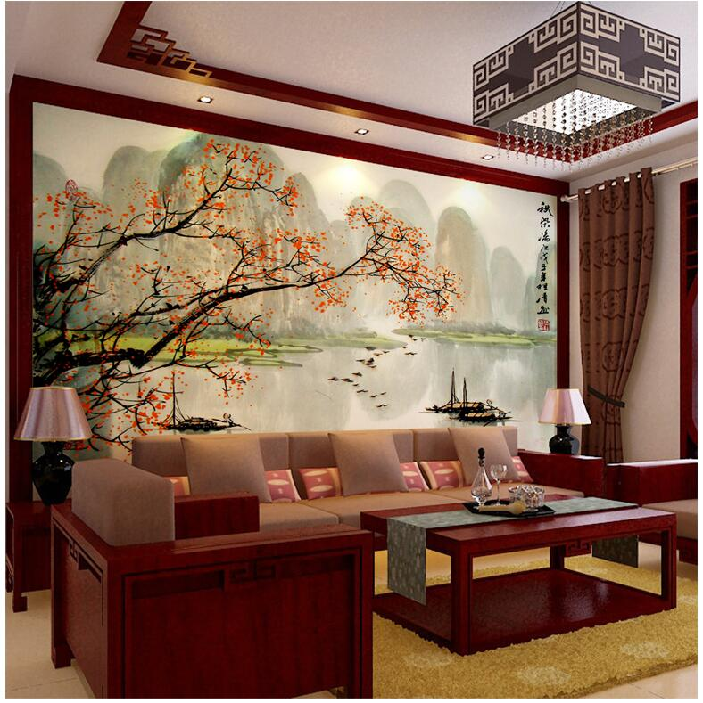 Buy 3d photo wallpaper chinese landscape for Chinese mural wallpaper