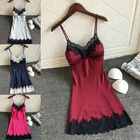 Sexy Women Lingerie Silk Lace Backless Short Mini Dress Nightdress Nightgown Babydoll Strap Solid Color Sleepwear Night Dresses