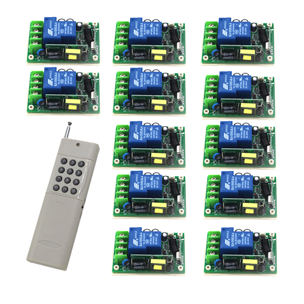 AC 85V-250V 30A Wireless 12 Receiver&1 Transmitter Remote Control switch System Momentary/Toggle adusted 315/433 SKU: 5483 wireless pager system 433 92mhz wireless restaurant table buzzer with monitor and watch receiver 3 display 42 call button
