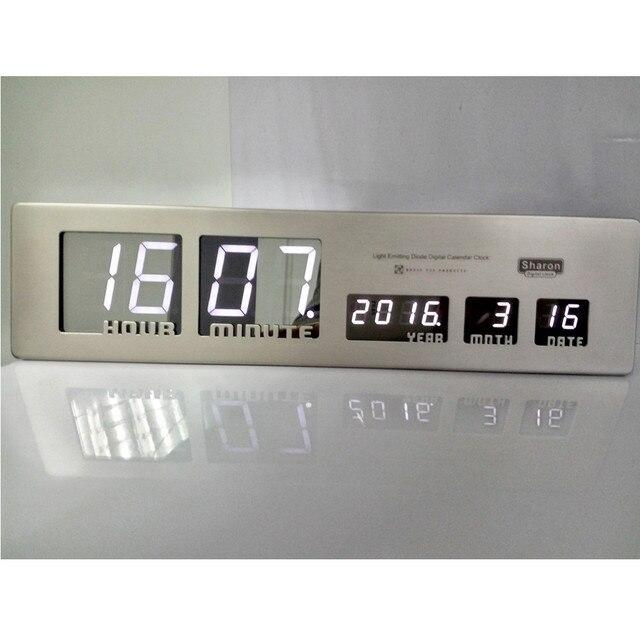 Aluminum Large LED Digital Wall Clock Modern Design Home Decor Study