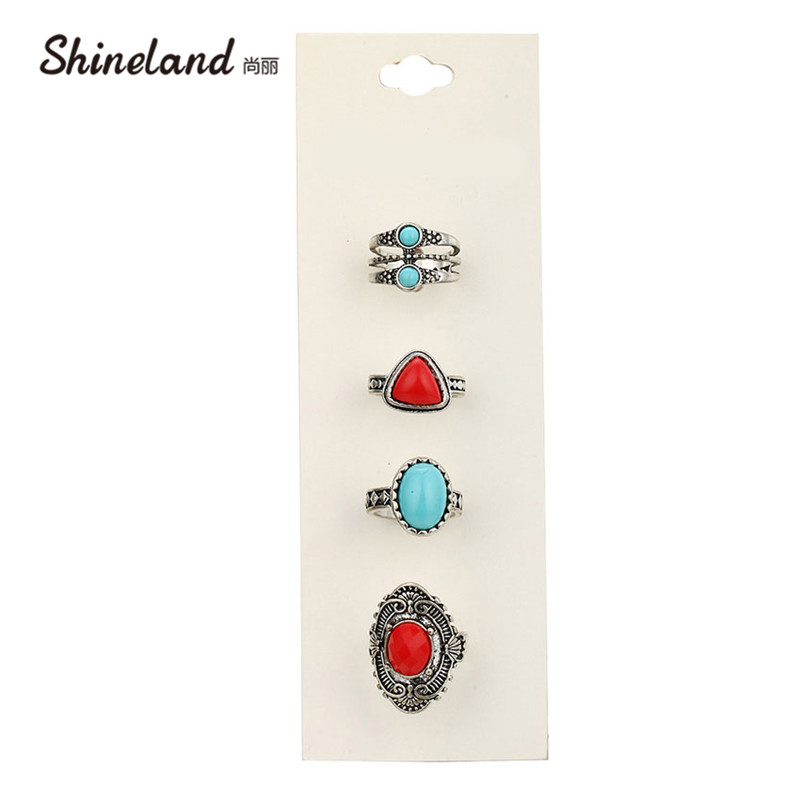 Shineland 2018 Vintage Party Rings Set Antique Alloy Blue Red Stone 4 PCS/SET Midi Finger Rings for Women Steampunk Turkish Ring