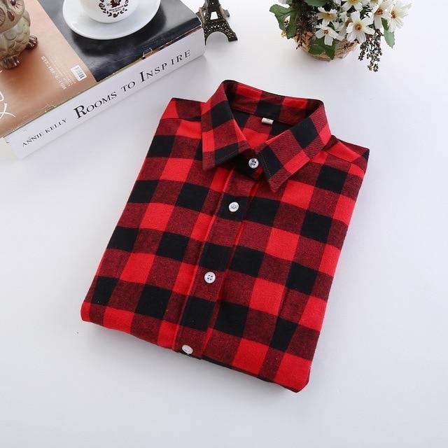 2017 Brand New Fashion Plaid Shirt Female Casual Style Women Blouses Long Sleeve Flannel Shirt Plus Size Cotton Blusas Tops 5XL Women Shirts