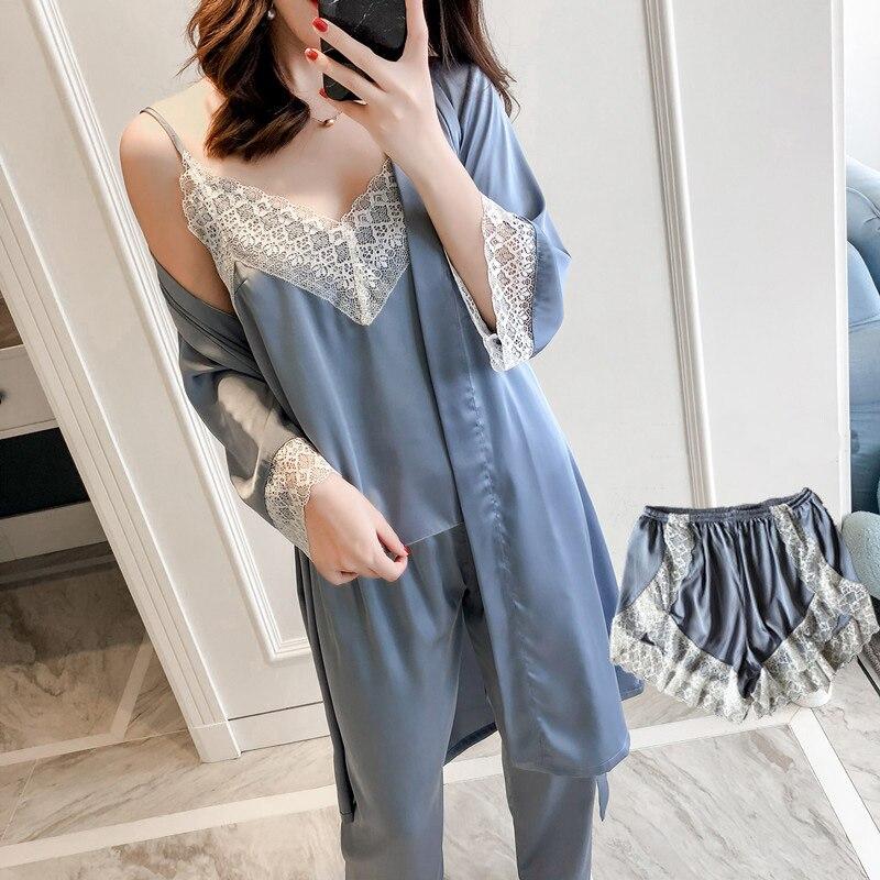 2019 Spring Sexy Lace Trim Women Pajama Pijama Set 4PCS Sleepwear Rayon Cami+Shorts+Pants+Robe Nightwear Suit Home Clothes