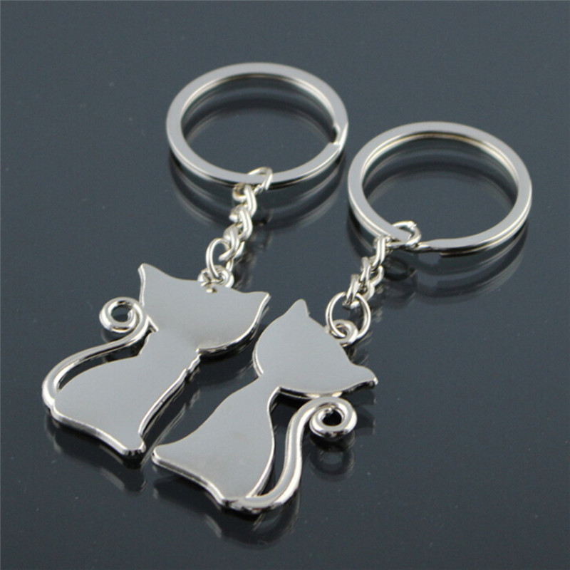 Cat Keychain For Couple Lovers Alloy Enamel Jewelry Ring For Car Key Chain Valentine's Day Gift цены онлайн