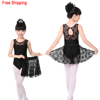 High Grade Lace Black Sleeveless Dance Leotard Lace Skirt Set Girls Kids Children Ballet Dancewear