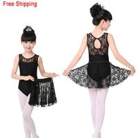 High Grade Lace Black Sleeveless Dance Leotard Lace Skirt Set Girls Kids Children Ballet Dancewear
