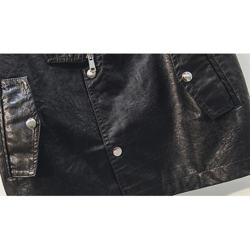 En Cuir Motobiker Vestes Corée Gilet Manteaux Printemps V Sans Black Femmes Streetwear Pu 2019 Mode Manches Faux Col Noir Slim Oq6xZw5z