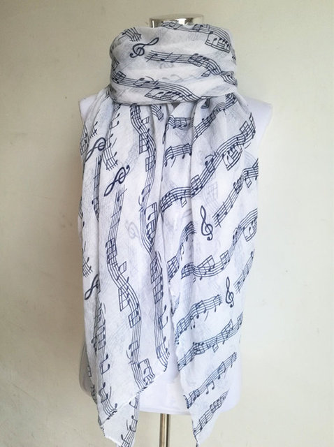 Music Note Cotton Scarf | Lightweight Scarves