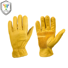 OZERO New Men Work Gloves Cowhide Leather Working Welding Gloves Safety Protective Garden Wear-resisting Gloves 0006 work gloves cowskin leather barbecue stove gloves garden safety protective cut heat resistant long sleeve welding gloves