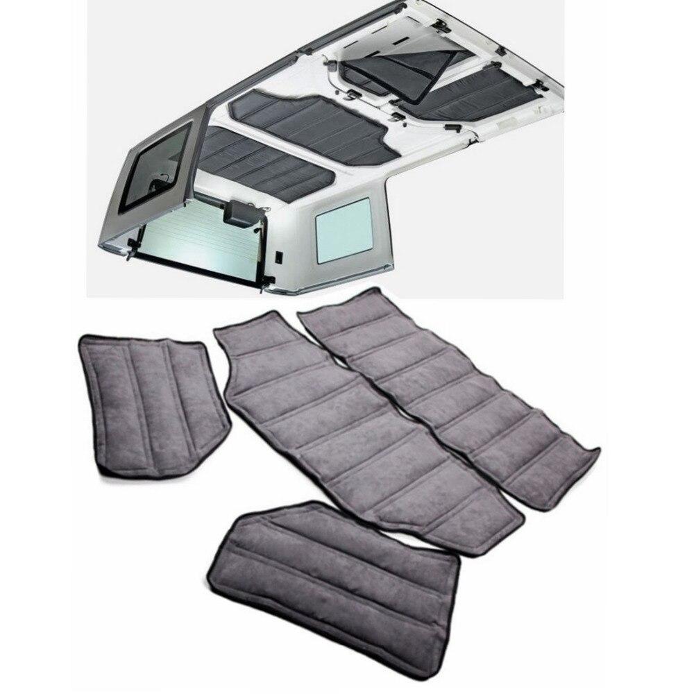 Chuang Qian Voiture Accessoires Dar Gris Hardtop Son et D'isolation thermique Coton Pad Kit 4 Porte pour Jeep Wrangler JK 2007-2010