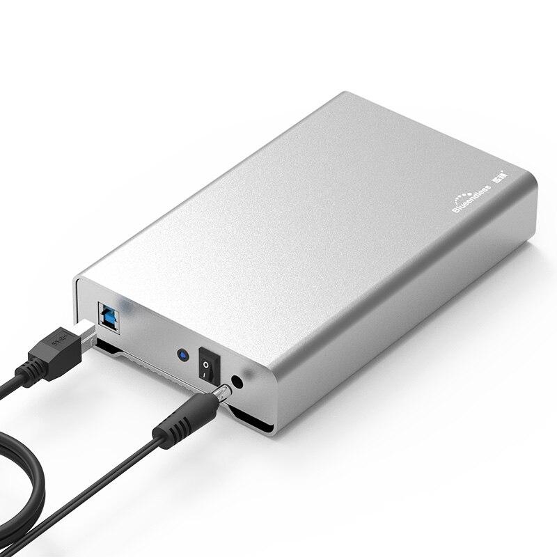 3.5 pollice interamente in metallo caso hdd mobile hard disk box USB 3.0 5 gbps desktop hard drive SATA hdd enclosure alluminio shell blueendless