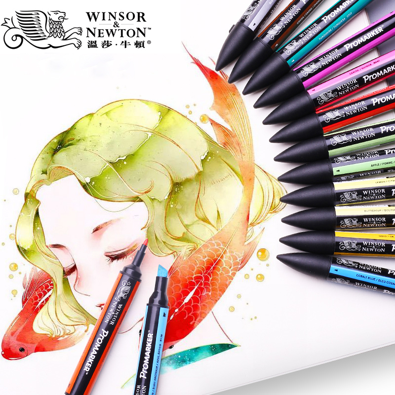 WINSOR&NEWTON Twin Tip Alcohol Based Promarkers Double-side Fine/Oblique Tip Art Marker Pen For Artists Drawing Supplies
