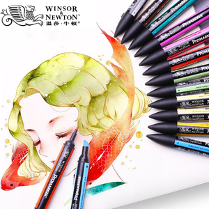 Image 1 - WINSOR & NEWTON двойной наконечник на спиртовой основе, двухсторонний тонкий/косой наконечник, маркер для художников, принадлежности для рисования