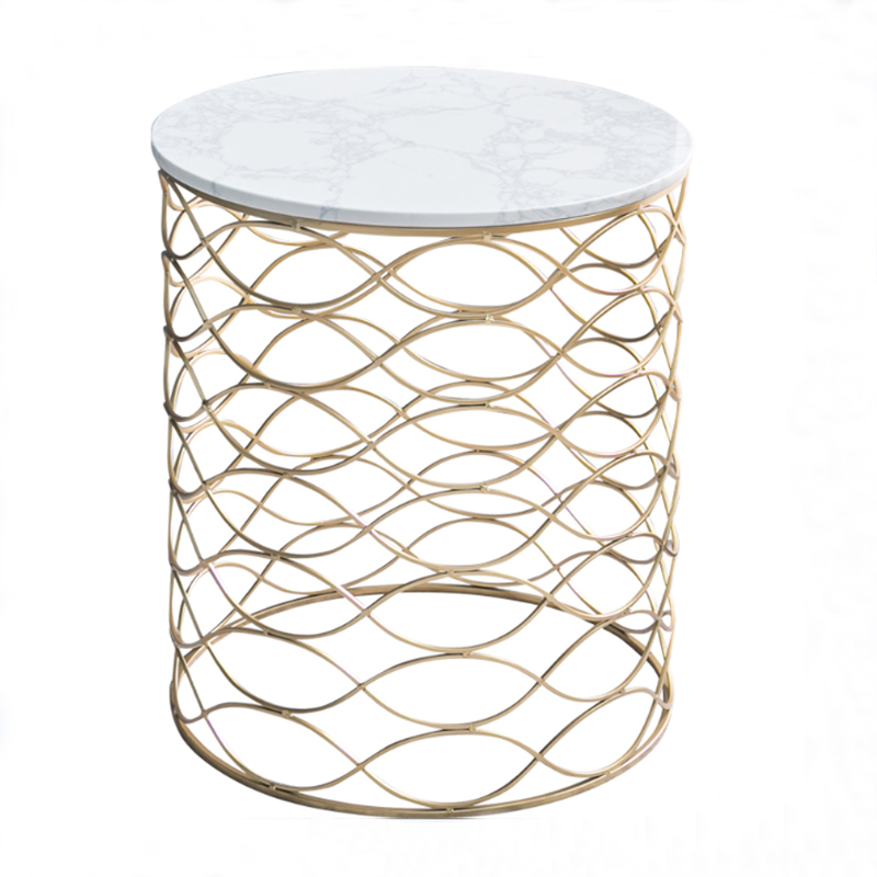 Round Marble Top End Table Living Room Metal Coffee Table
