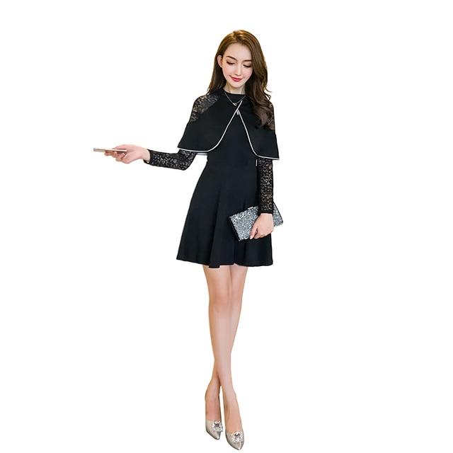 Herbst neue spitzenkleid frauen langarm mantel ein wort plissee sexy ...