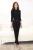 Novedad Negro Estilos Uniformes Señoras de la Oficina Mujer Trajes de Pantalón Tops Y Pantalones Con Camisas Blusas Mujeres Pantalones Ropa Conjuntos