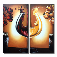 Alta Qualidade de Vidro De Vinho Abstrato Pintura A Óleo Sobre Tela mão painéis de arte de parede pintado retratos da parede para sala de estar com quadros