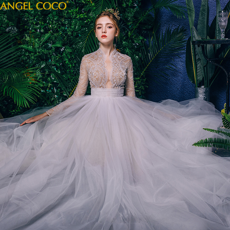 Romantic Wedding Dresses 2019: Royal Palace Wedding Dress Bride 2019 New Romantic Floor