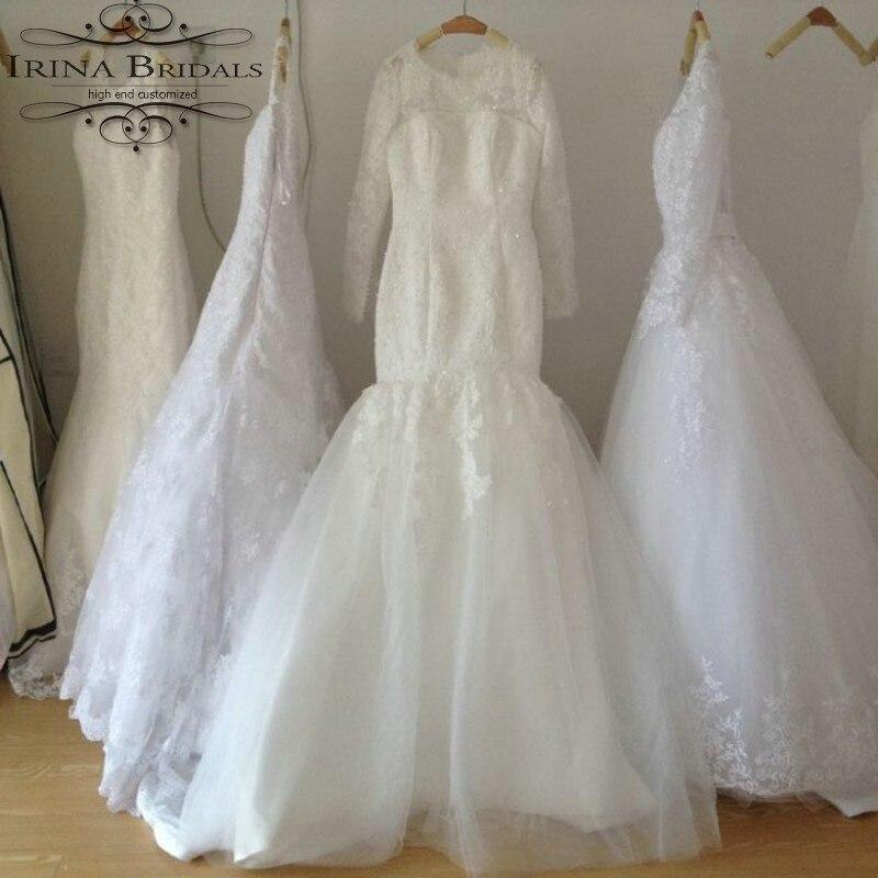 brautkleider Long Sleeve Mermaid Lace Appliqued Muslim Wedding Dress ...