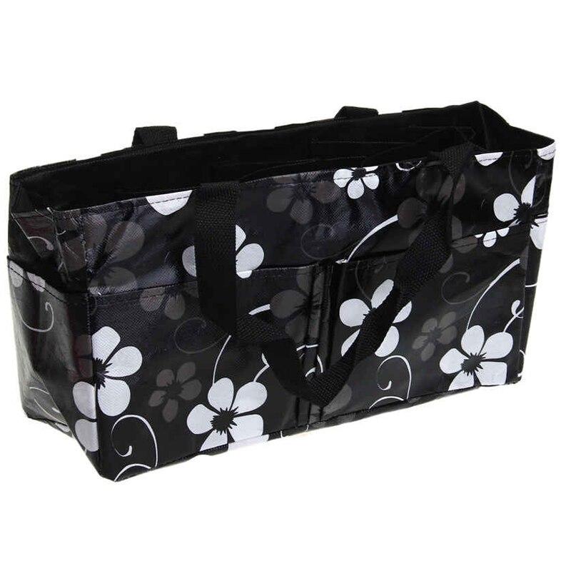 Pola Floral Outdoor Travel Portable Mummy Ibu Popok Bayi Popok Penyimpanan Organizer Tote Bag Tas Kosmetik Tas Hitam-Internasional