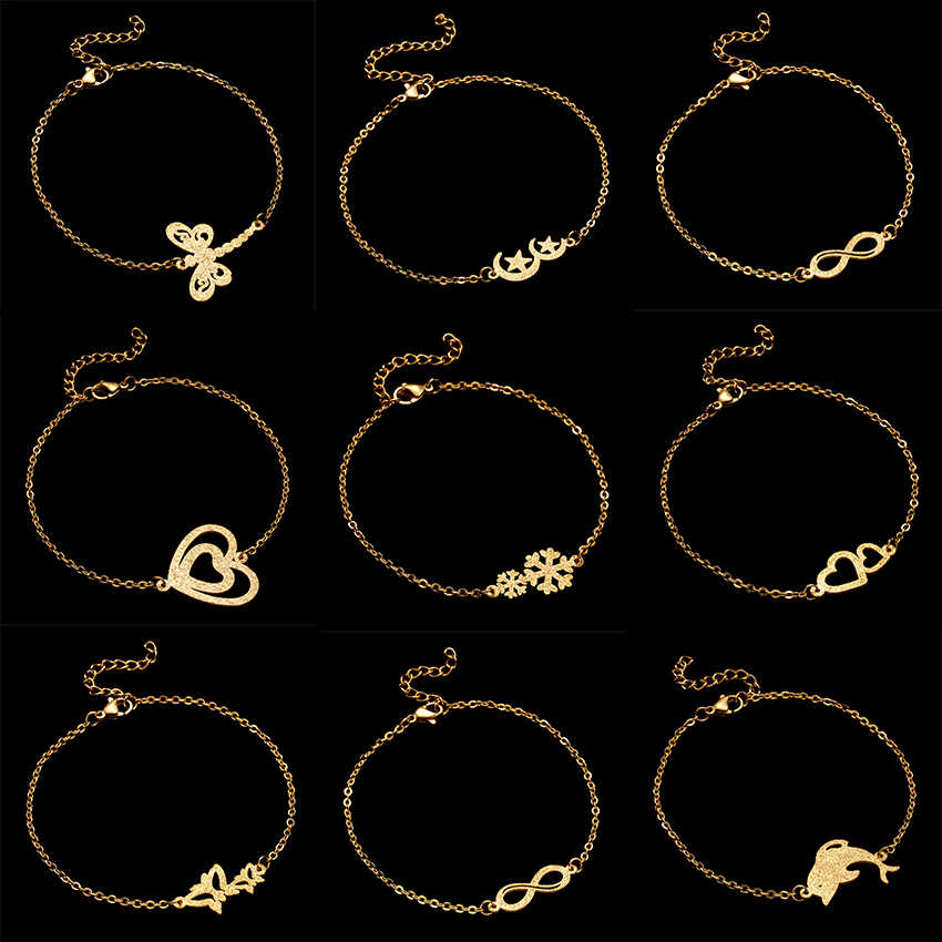 Rinhoo Stainless Steel Bracelet Adjustable Gold Dolphin Scrub Charms Chain Stainless Steel Bracelet Women Girls Jewelry Gifts