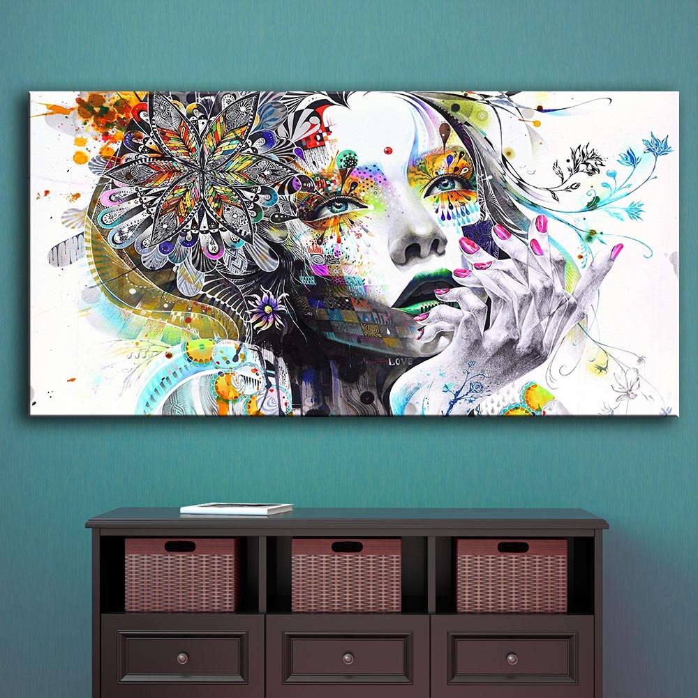 Direct selling huge wall art girl with flowers oil painting Prints Painting on canvas For Living Room Pictures Decor Frame
