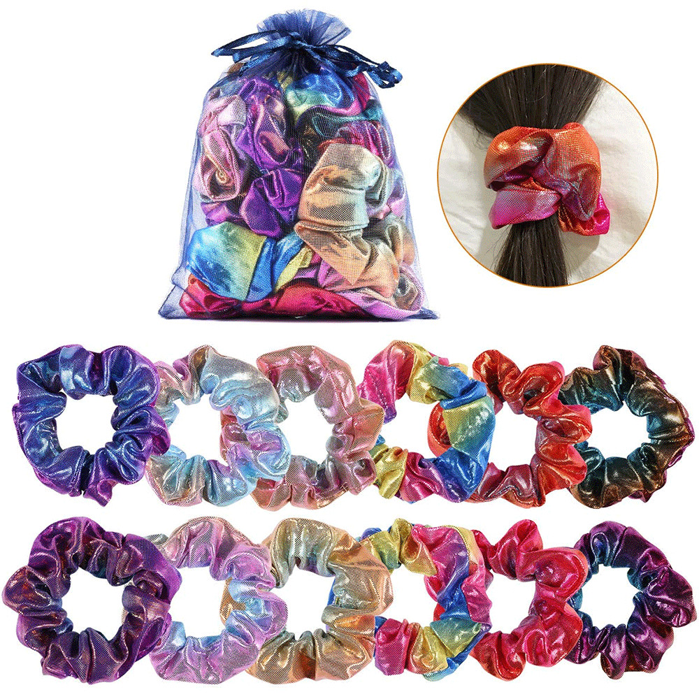 24 Color Fashion Glitter Powder Fabric Scrunchies Hair Accessories For Women Elastic