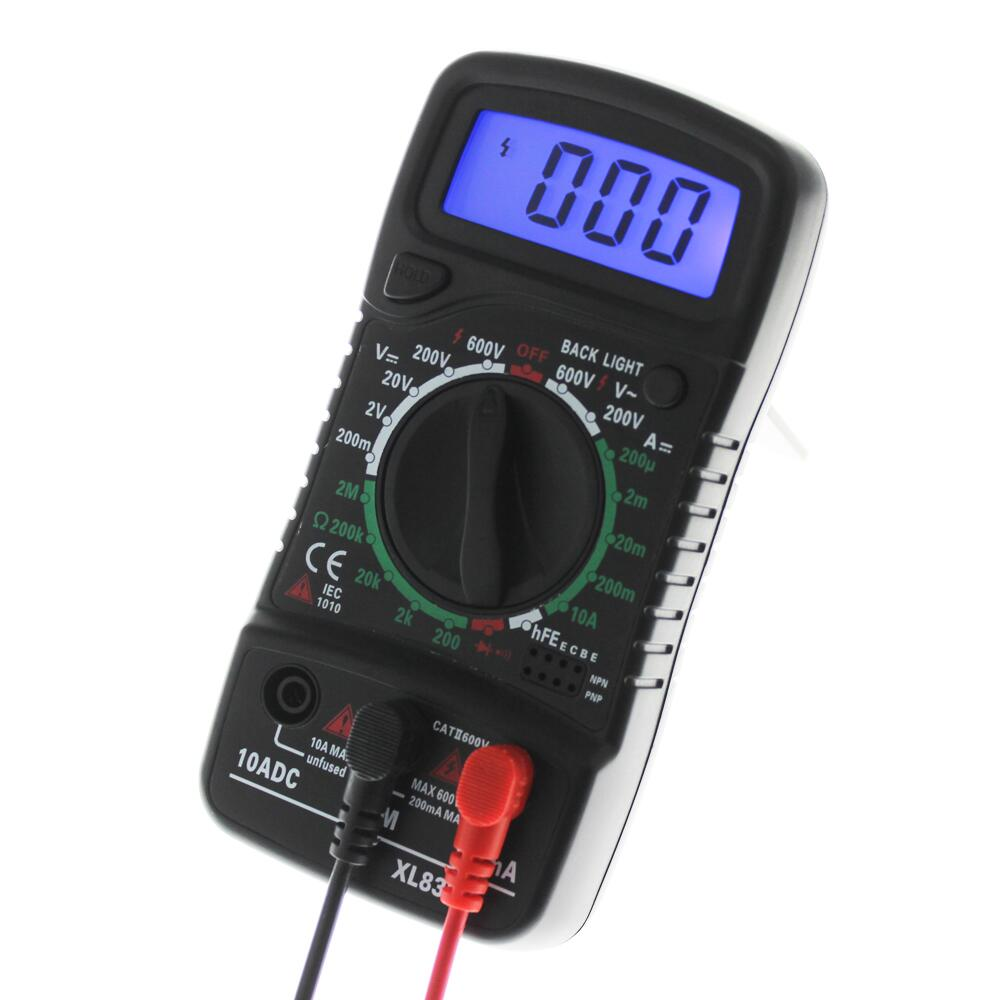 Portable Digital Multimeter Backlight AC/DC Ammeter Voltmeter Ohm Tester Meter XL830L LCD Multimetro Electrical Voltage Current