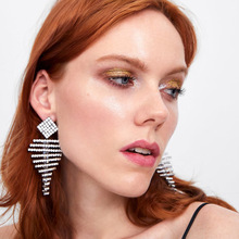 new bright inlaid Pendant Earrings women fish bone tassels  Earrings rhinestone charm bohemian  trendy earrings недорого