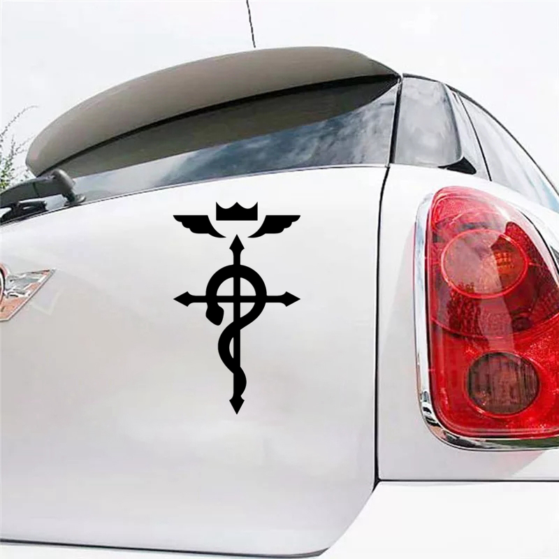 CS 775 25 15cm Fullmetal Alchemist Flamel Logo funny car sticker vinyl decal silver black for auto car stickers styling in Car Stickers from Automobiles Motorcycles