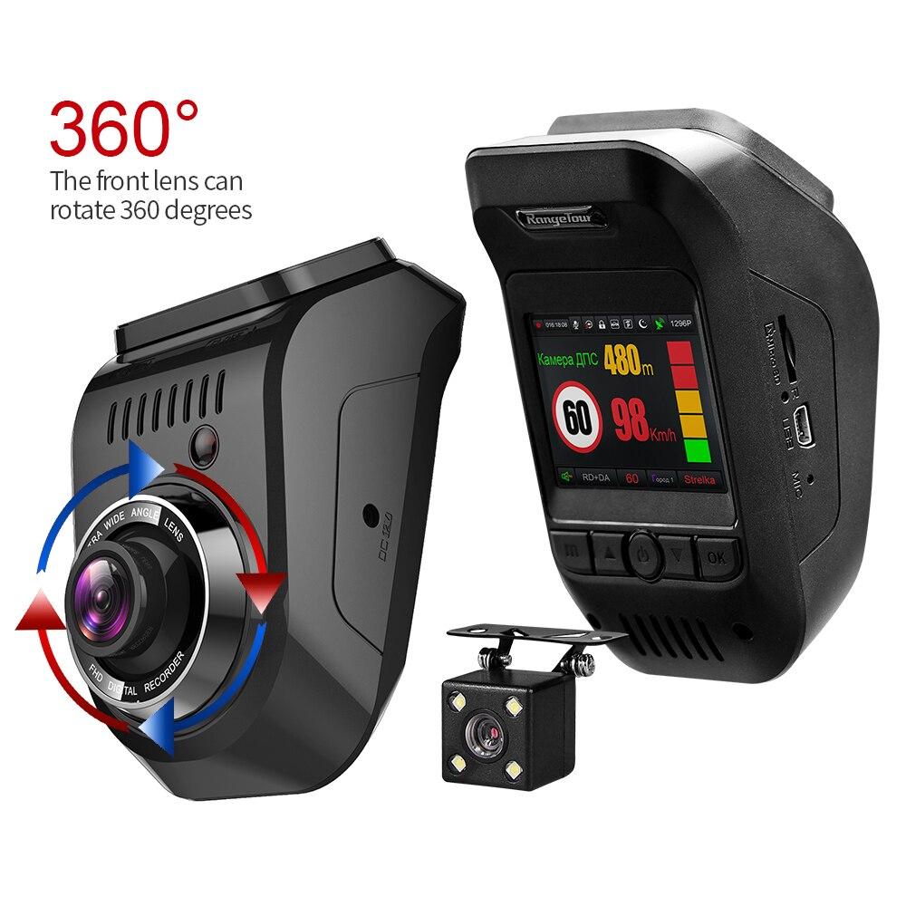 Nuevo coche DVR ruso 3 en 1 Detector de Radar lente Dual grabadora de vídeo de 1296 P Dash Cam construir en Global GPS noche visión FCWS ADAS