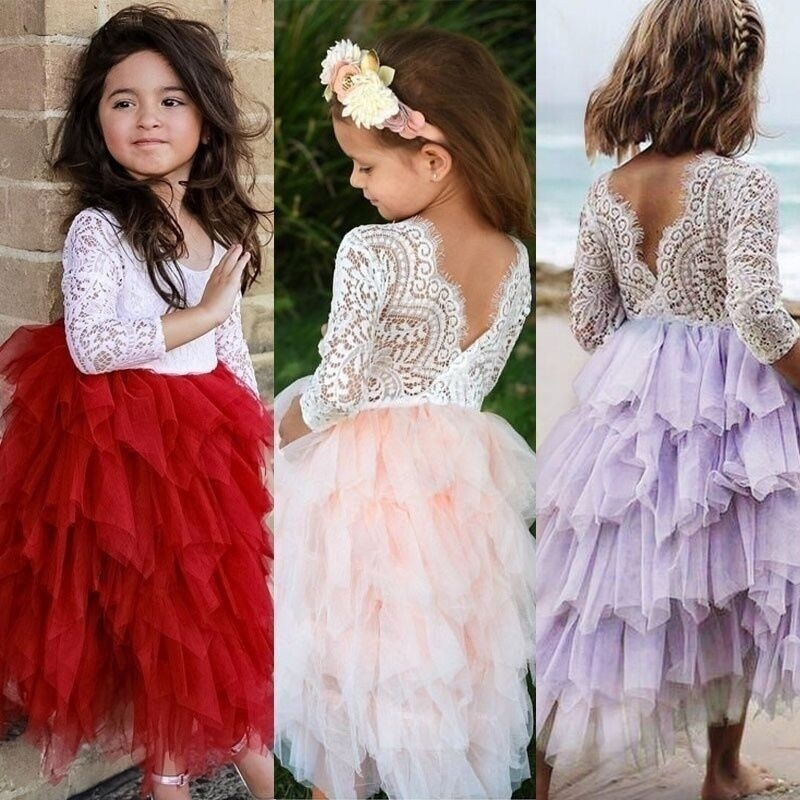 Summer Lace Girl Dress 2019 White Backless Girls Teenage Princess Dress Irregular Tutu 2-8 Years Pink Children Dresses Pink 4