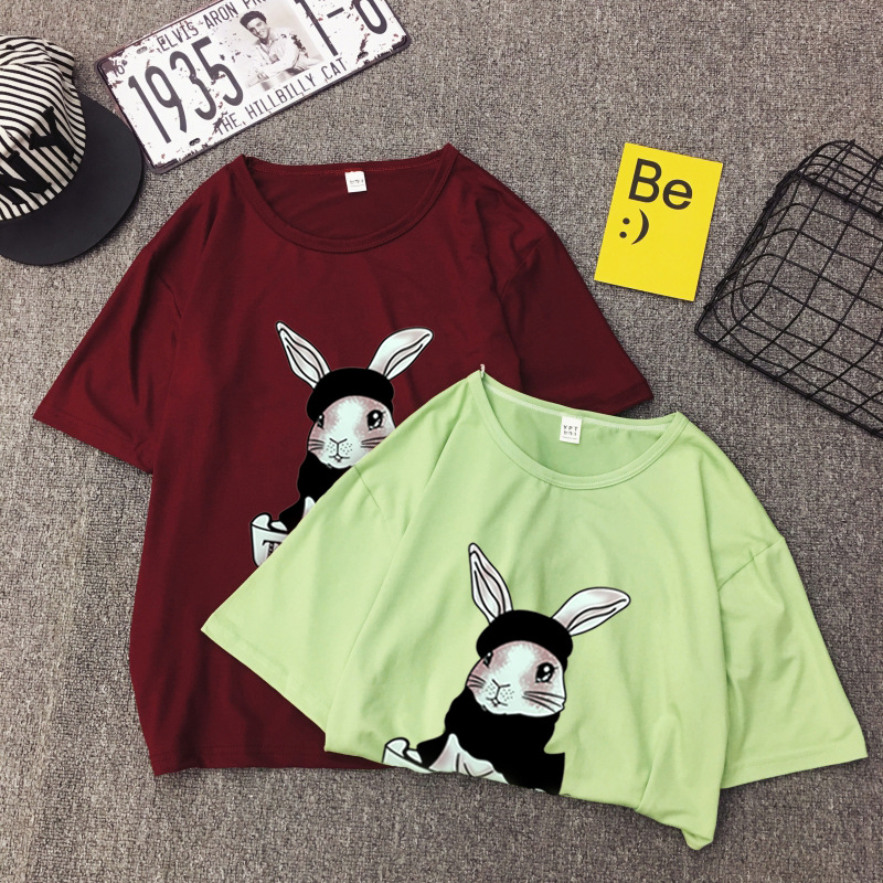 Cute Rabbit Print Women Tshirt High Quality Short Sleeve Round Neck Cotton Spandex Women Tops Casual Loose Women T-shirt 14