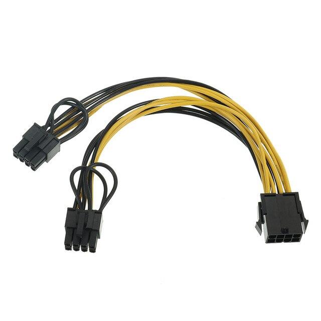 2pcs PC Power Supply Cable CPU Molex 8pin to 2 PCI e 8(6+2)pin ...