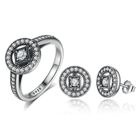 Classic 100 925 Sterling Silver Vintage Allure Clear CZ Finger Ring Earrings Set Women Luxury Fashion